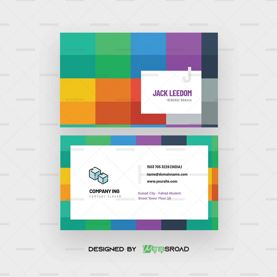 Wosi Colorful Abstract Visiting Card Template Free Psd Download Websroad Websroad Web Development Web Designing Digital Assets